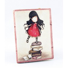 Визитница бежевая с девочкой на книжках