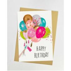 Открытка С Днем Рождения белая с воздушными шарами