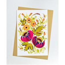 Открытка Петриковская роспись малиновые цветы