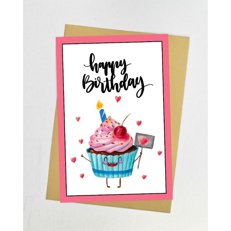 Открытка с днем рождения кекс 1