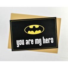 Открытка Ты Мой Герой Бетмен черная