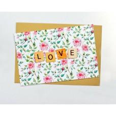 Открытка Любовь белая с розовыми цветочками