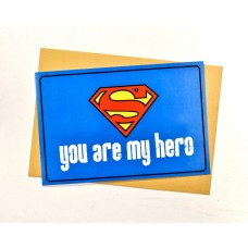 Открытка Ты Мой герой Супермен синяя