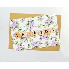 Открытка Дружба белая с сиреневыми цветочками