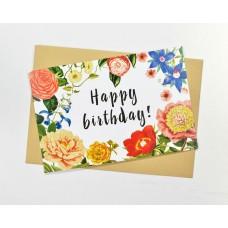 Открытка С Днем Рождения с цветами по периметру