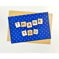 Открытка Спасибо Тебе синяя в белый горошек