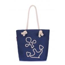 Котонова сумка з якорем POOLPARTY anchor-darkblue-none темно-синя