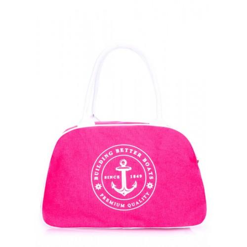 Коттонова сумка-саквояж POOLPARTY pool-16-yachting-pink малинова