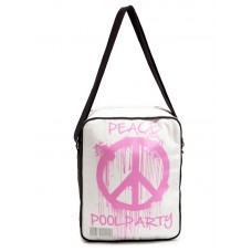 Мужская сумка POOLPARTY с ремнем на плечо pool-18-peace белая