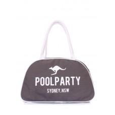 Коттонова сумка-саквояж POOLPARTY pool-16-white-grey сіра
