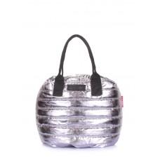Стьобана сумка на шнурку POOLPARTY muffin-silver срібло