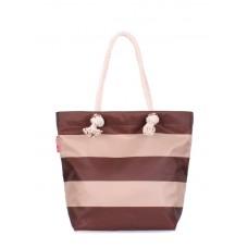 Пляжна сумка в смужку POOLPARTY anchor-stripes-коричнева brown