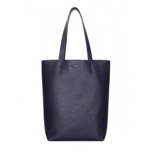 Кожаная сумка-шоппер POOLPARTY iconic-darkblue синяя