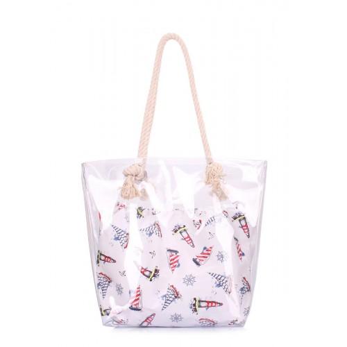 Прозора літня сумка в морському стилі POOLPARTY anchor-clr-marine біла