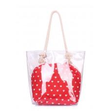 Прозора літня сумка з серцями POOLPARTY anchor-clr-hearts червона