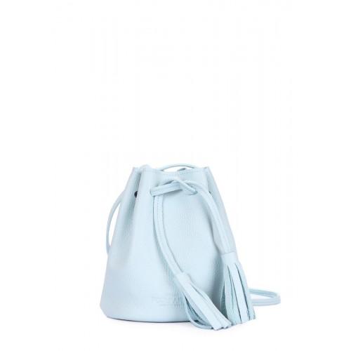 Голубая кожаная сумочка на завязках POOLPARTY bucket-blue