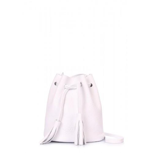 Белая кожаная сумочка на завязках Bucket POOLPARTY bucket-white