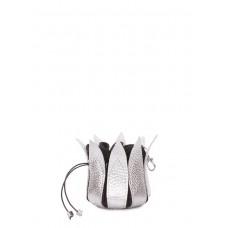 Серебряная кожаная ключница-цветок POOLPARTY keychain-flower-silver