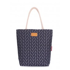 Коттоновая сумка з якорями POOLPARTY laspalmas-anchors синя