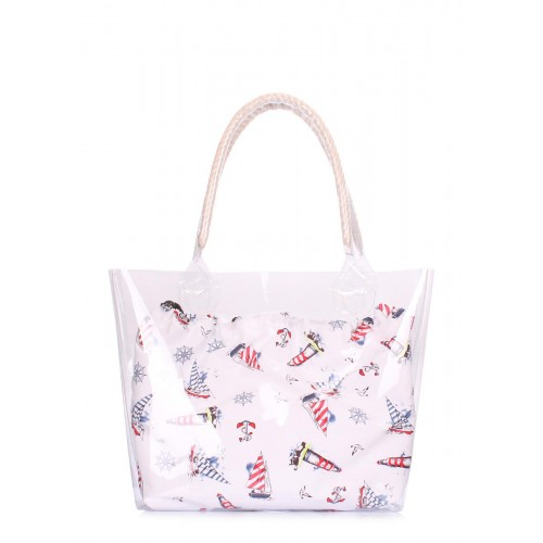 Прозора літня сумка POOLPARTY Fresh fresh-marine біла