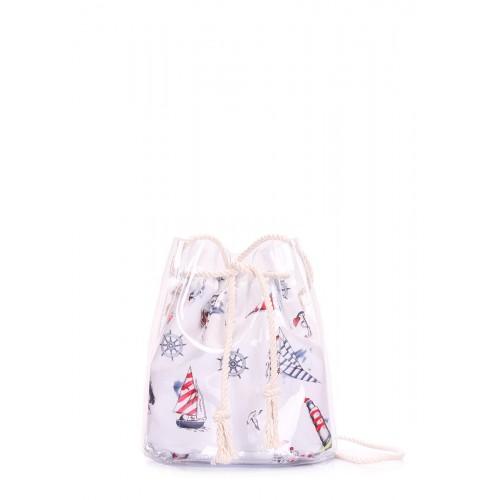 Прозора сумочка в морському стилі POOLPARTY bucket-clr-marine біла