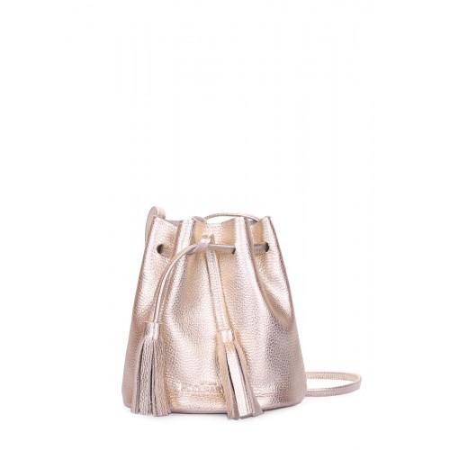 Золотая кожаная сумочка на завязках POOLPARTY bucket-gold
