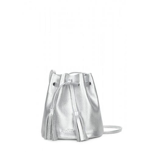 Серебряная кожаная сумочка на завязках POOLPARTY bucket-silver