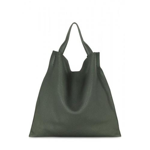 Зеленая кожаная сумка POOLPARTY bohemia-khaki