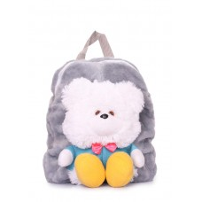 Детский рюкзак POOLPARTY с медведем kiddy-backpack-bear-grey серый