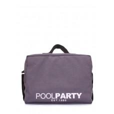 Коттоновая сумка POOLPARTY с ремнем на плечо original-grey серая