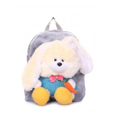 Детский рюкзак POOLPARTY с зайцем kiddy-backpack-rabbit-grey серый