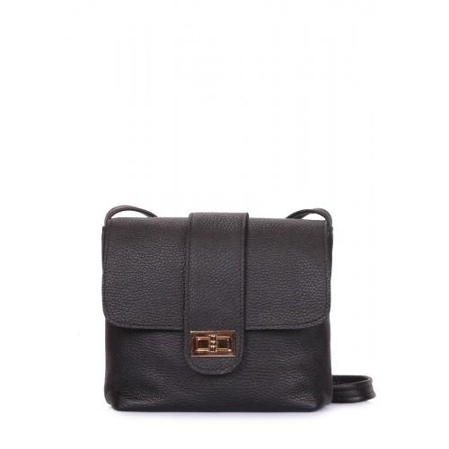 Кожаная сумка на плечо POOLPARTY kiki-leather-black черная