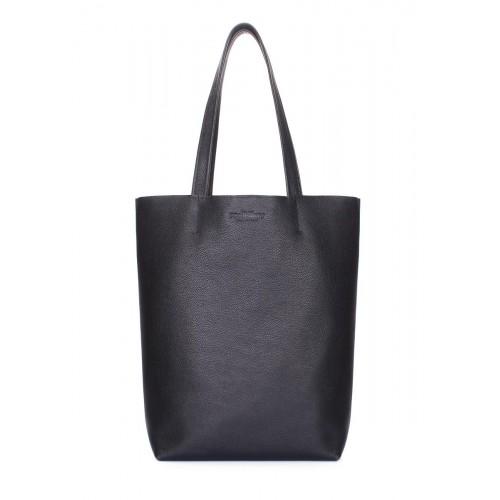 Кожаная сумка-шоппер POOLPARTY iconic-black черная