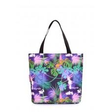 Женская сумка Select с тропическим принтом POOLPARTY select-tropic фиолетовая