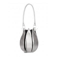 Шкіряна сумка Flower POOLPARTY flower-silver срібна
