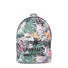 Рюкзак з тропічним принтом POOLPARTY backpack-oxford-tropic білий