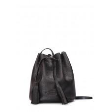 Шкіряна сумочка на зав'язках bucket чорна