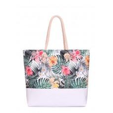 Літня сумка з тропічним принтом Palm Beach Біла