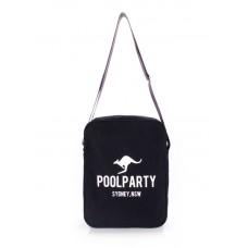 Мужская сумка POOLPARTY с ремнем на плечо pool-18-black черная