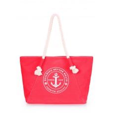 Коттоновая сумка POOLPARTY с трендовым принтом pool-breeze-red красная