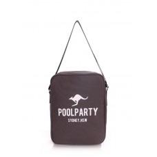 Мужская сумка POOLPARTY с ремнем на плечо pool-18-grey серая