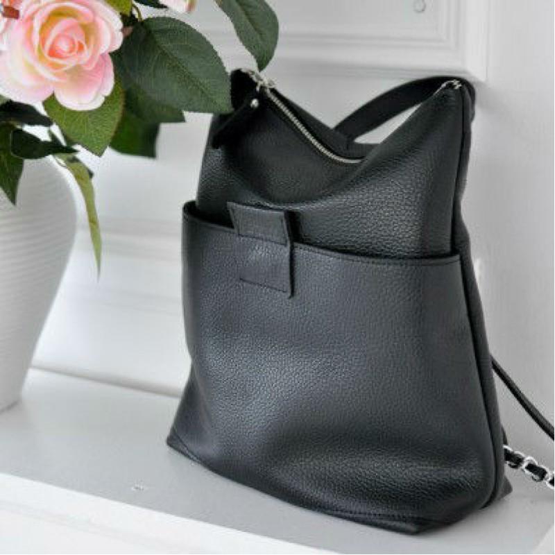 70fd007be736 Женская кожаная сумка-рюкзак K-2 black чёрная — купить в интернет ...