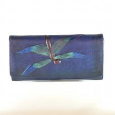 Гаманець жіночий шкіряний ручної роботи Dragonfly Blue синій