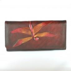 Гаманець жіночий шкіряний ручної роботи Dragonfly Brown коричневий