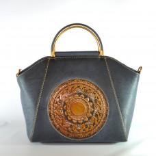 Женская кожаная сумка ручной работы Antigona blue синяя