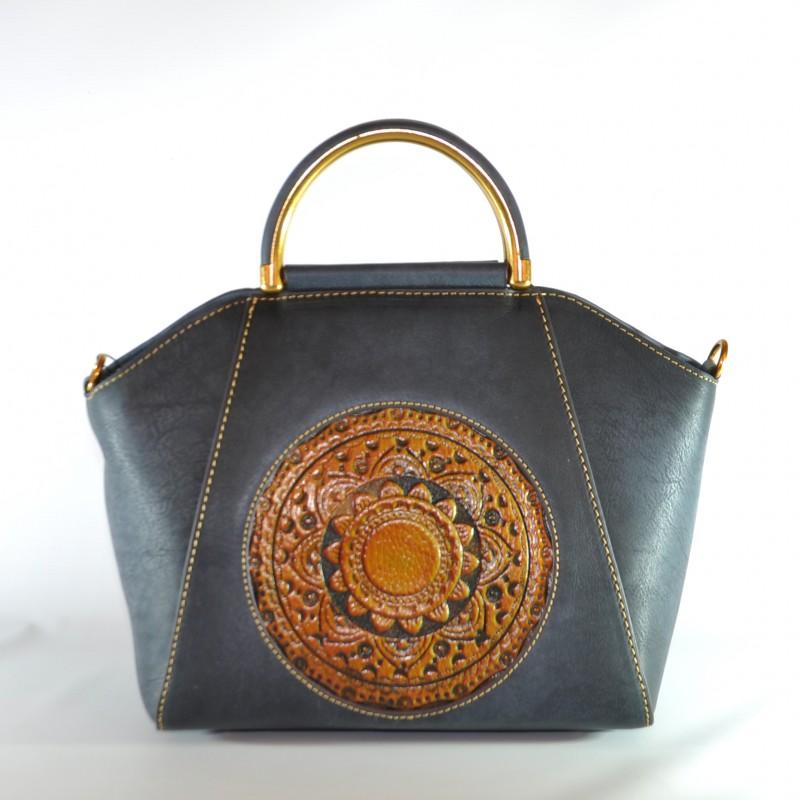 b6f22fab551e Женская кожаная сумка ручной работы Antigona blue синяя купить в ...