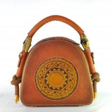 Женская кожаная сумка ручной работы Boho коричневая