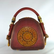 Женская кожаная сумка ручной работы Boho красная