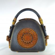 Женская кожаная сумка ручной работы Boho синяя