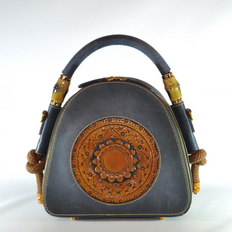 4d827050b967 Женская кожаная сумка ручной работы Boho синяя купить в Киеве недорого